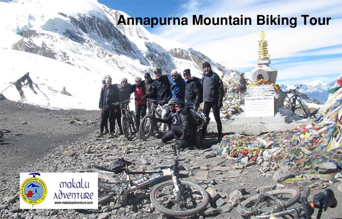 Thorung la pass during annapurna mountain biking tour